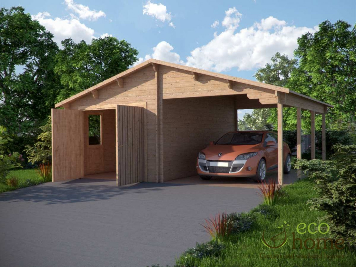 Log Garage Plus Carport 10.10m X 10