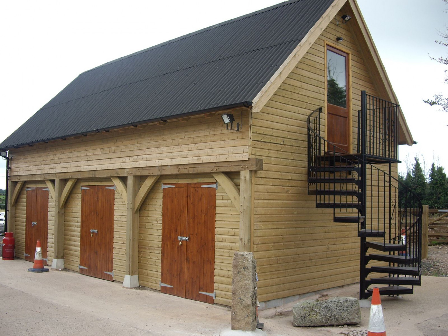 Log House Together With Wooden Garage And Original Outside ..