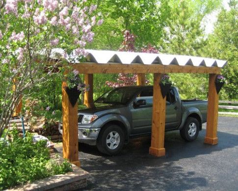 Metal And Wood Carport | Houzz Wooden Carport With Tin Roof