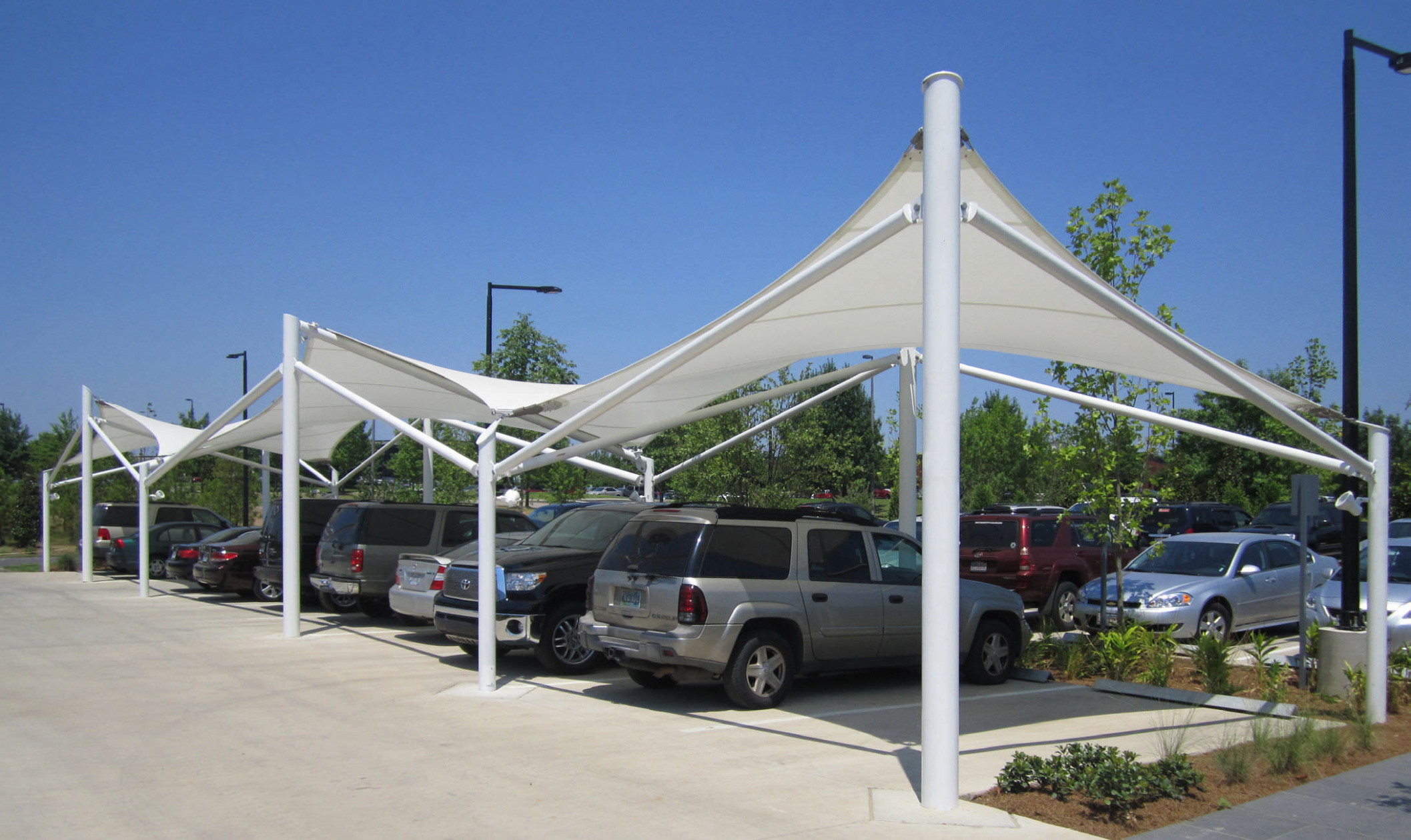 Metal Frame Tensile Structure / For Carports / With Glass ..