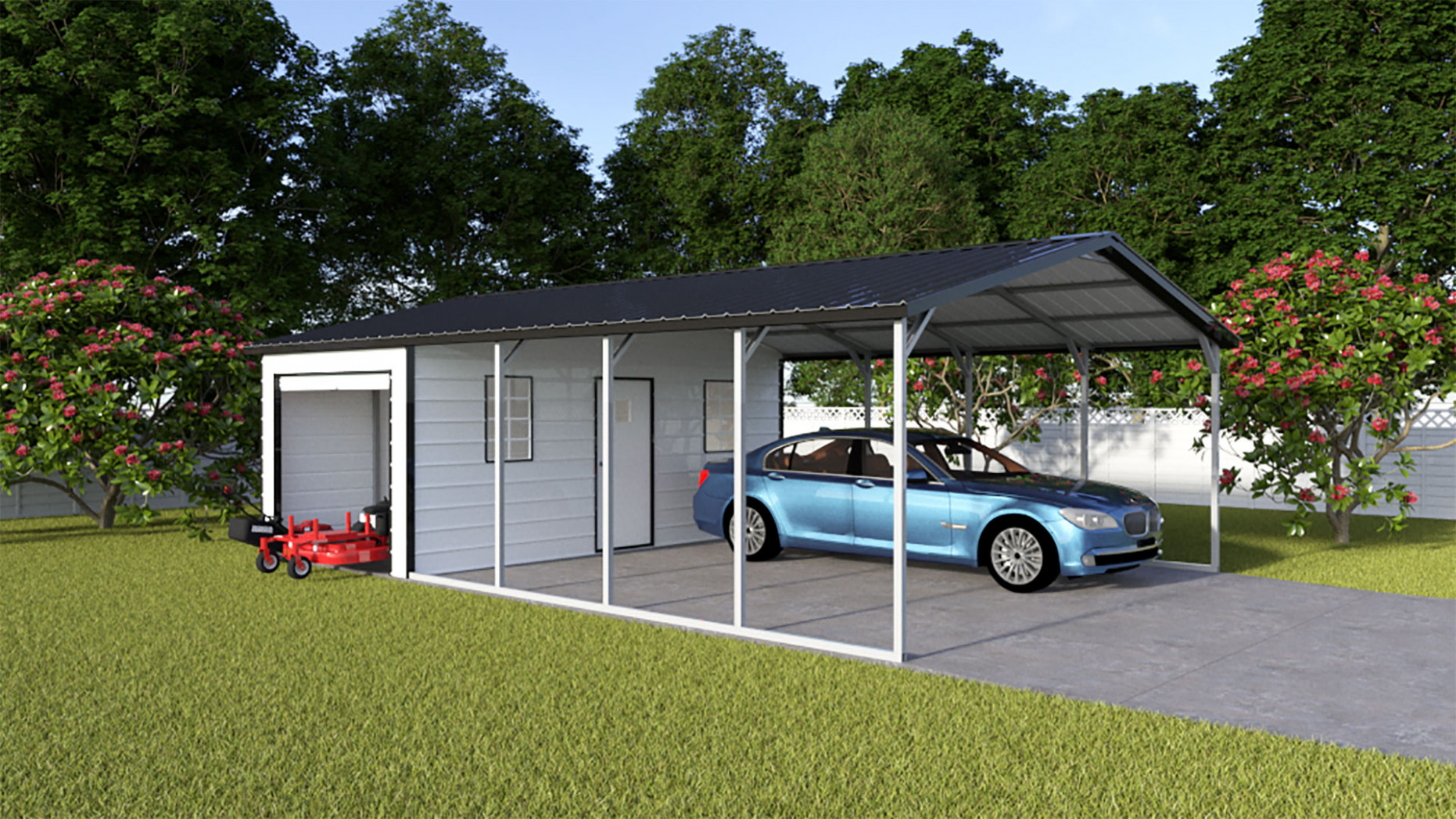 Metal Shed And Carport Combo Unit | Eagle Carport Double Garage With Carport