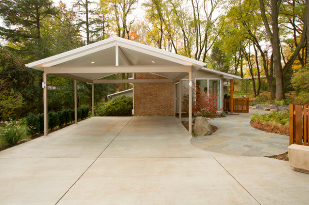 Mid Century Modern Carport Traditional Exterior DC ..