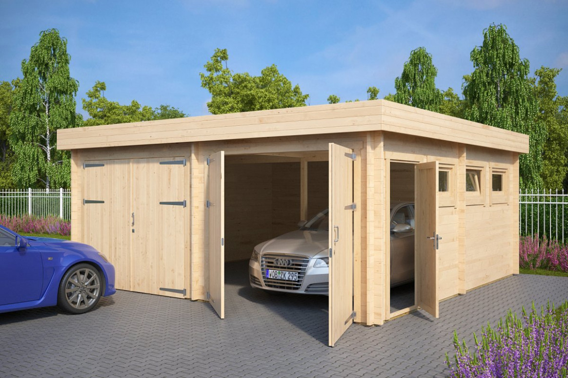 Modern Double Wooden Garage F With Flat Roof / 11mm / 11 X 11 M Wooden Double Carport
