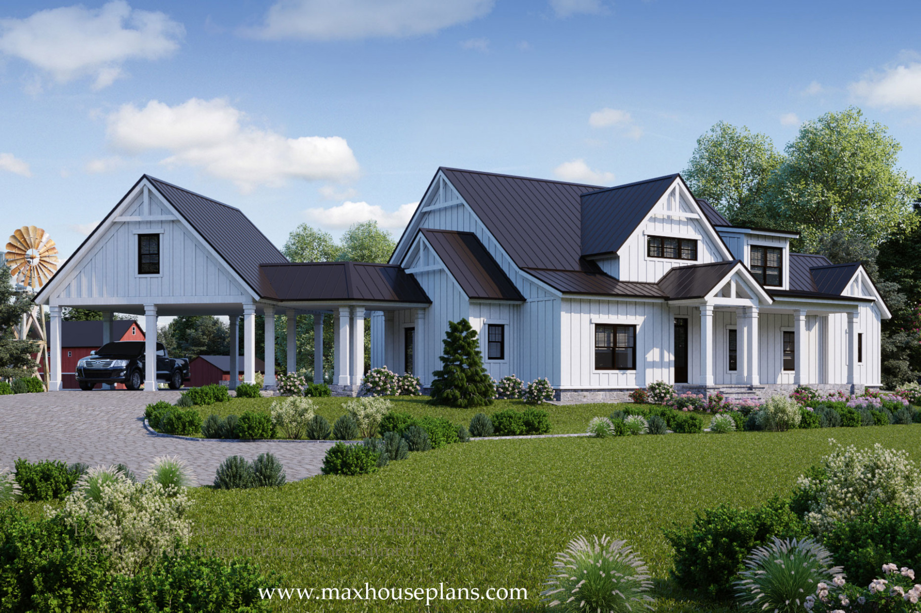 Modern Farmhouse House Plan Max Fulbright Designs Modern Attached Carport