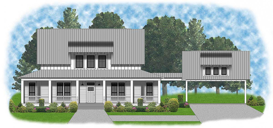 Modern Farmhouse With Shed Dormer And Carport 57601XN ..