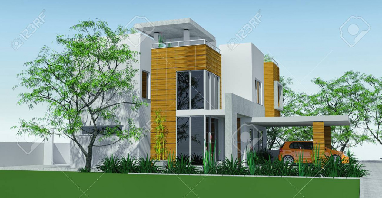 Modern House With Carport Lawn With Mini Garden