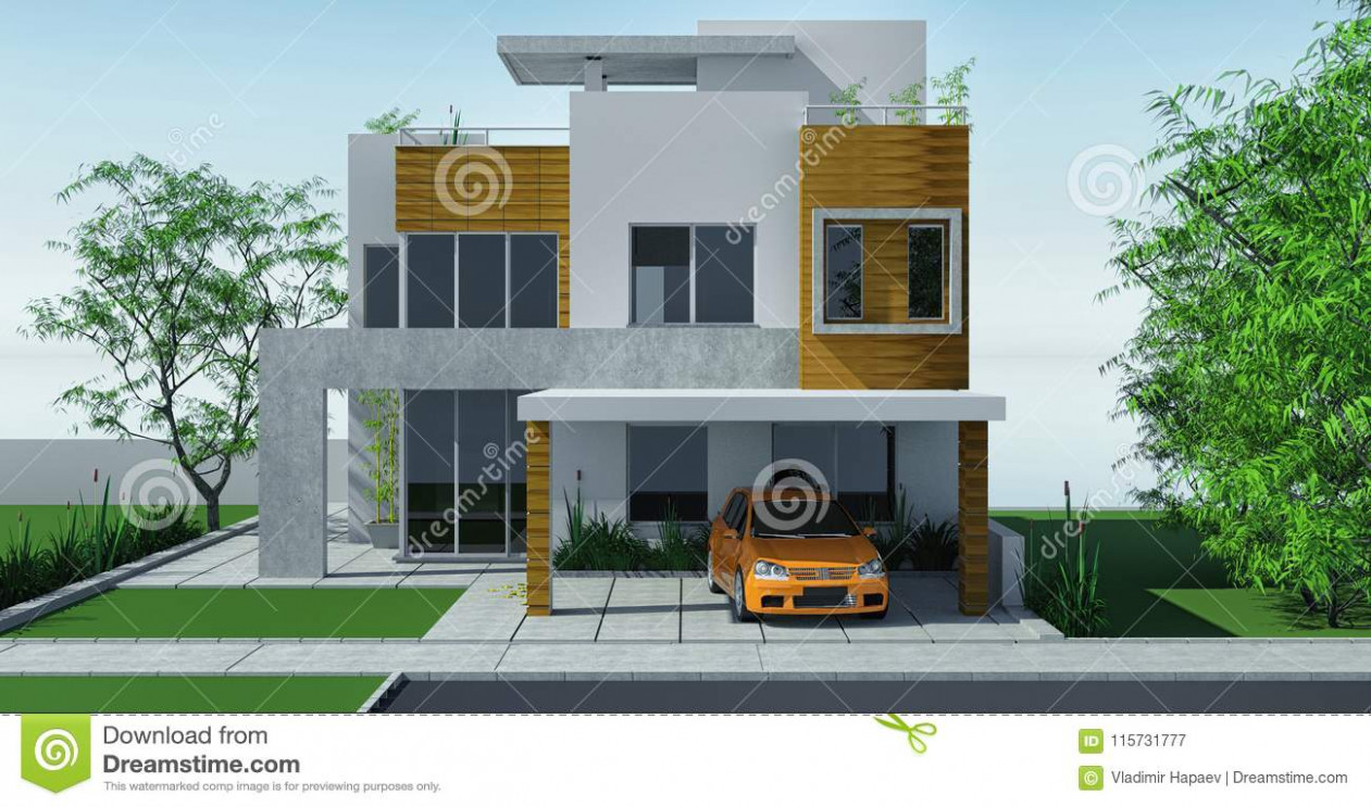 Modern House With Carport Lawn With Mini Garden. 8d ..