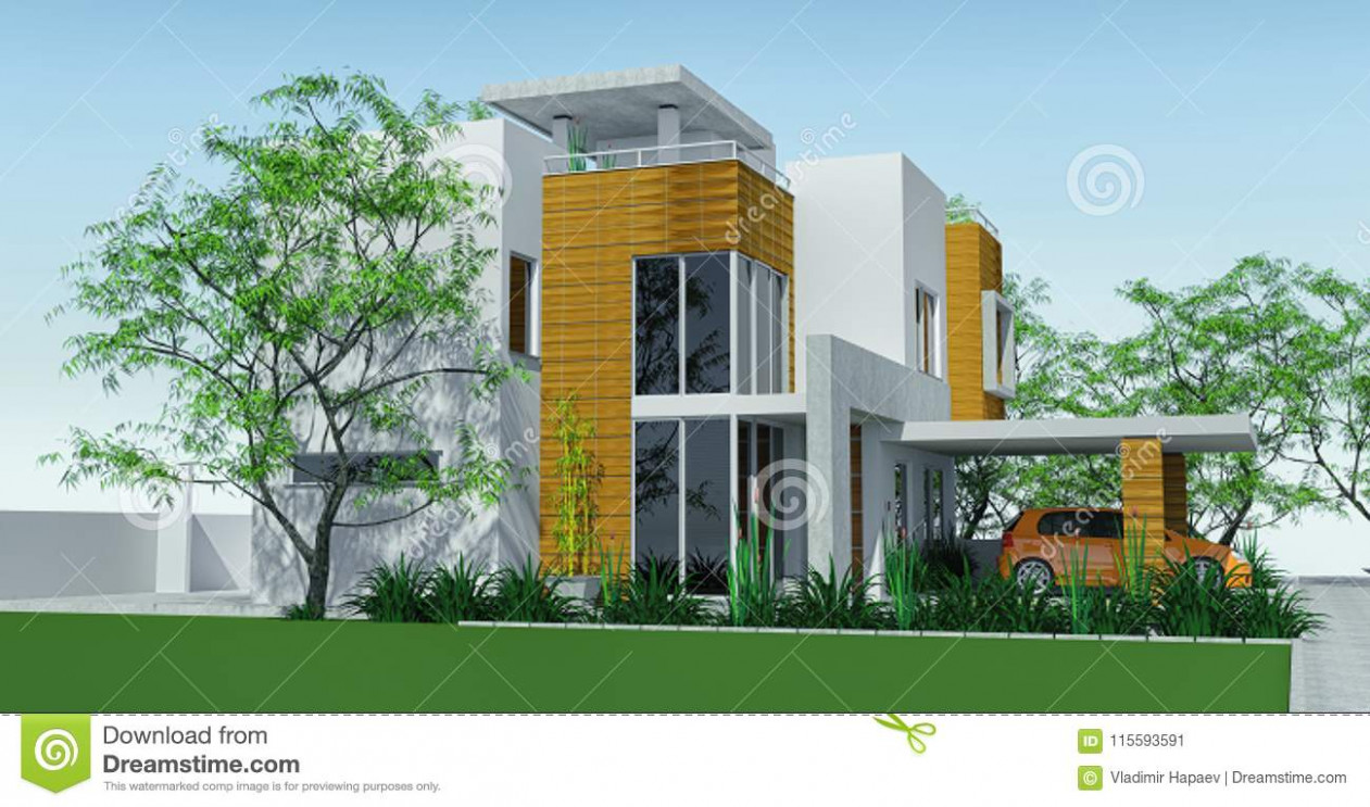 Modern House With Carport Lawn With Mini Garden. 9d ..