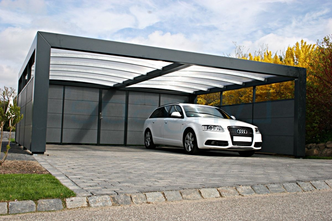 Modern Qualified Metal Carport On The Side Of The House ..