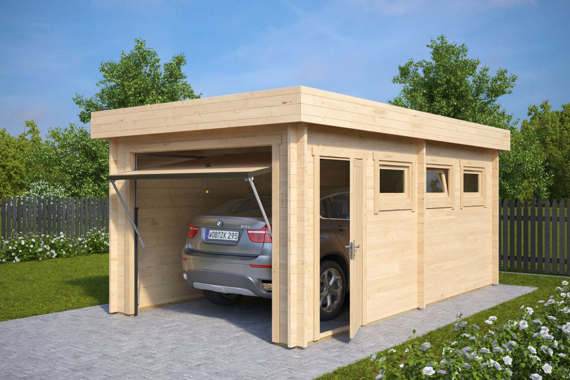 Modern Wooden Garage C with Up and Over Door / 9mm / 9 x 9,9 m