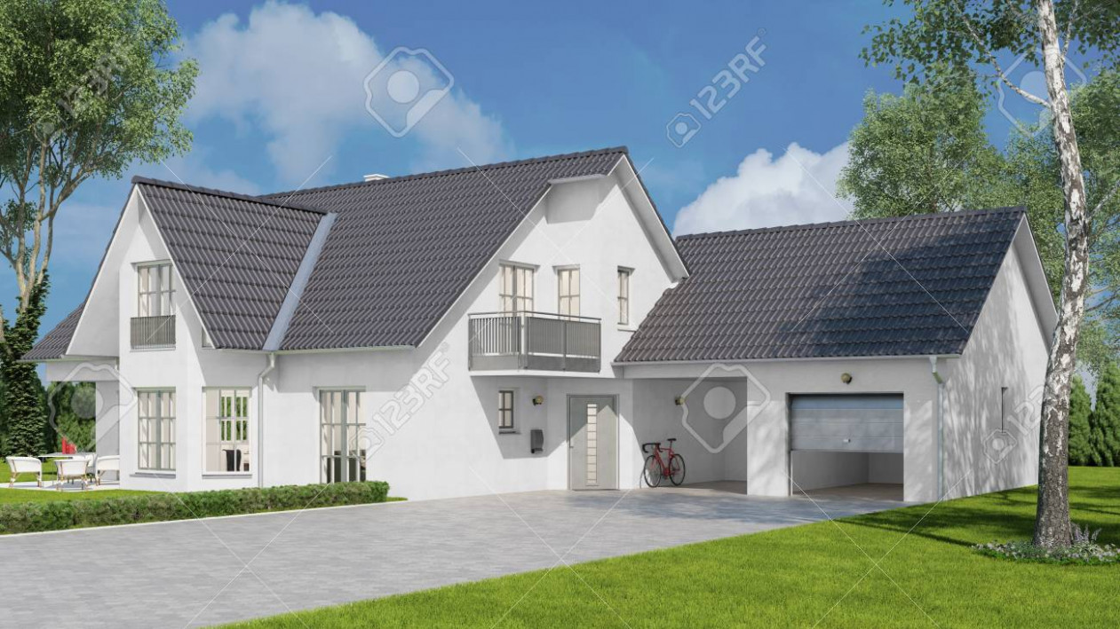 New White Single Family Home With Garage And A Carport (10D Rendering) Carport With Garage