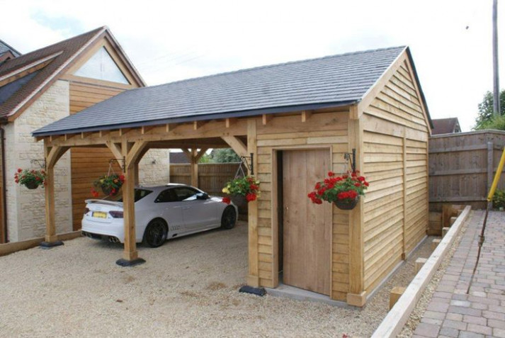 Oak Double Bay Garage With Side Store   Decorating Ideas ..