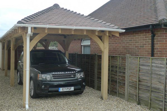 Oak Single Bay Open Carport Wooden Single Carports