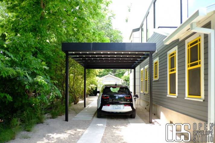 OES | Steel carport with concrete pavers, and pea gravel ...