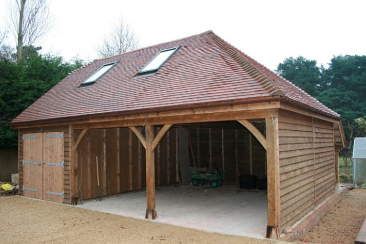 Open Fronted Wooden Garage With Logstore | Garages ..