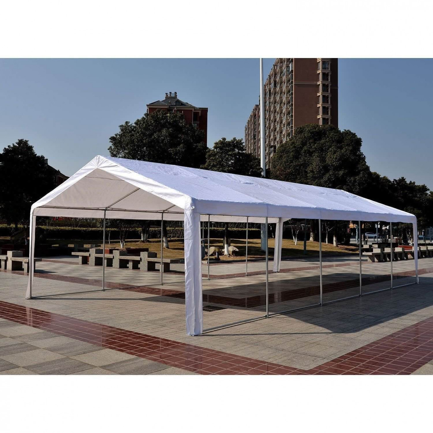 Outsunny 10'W X 10'D Outdoor Carport Canopy Party Tent With Sidewalls White Carport Party Ideas