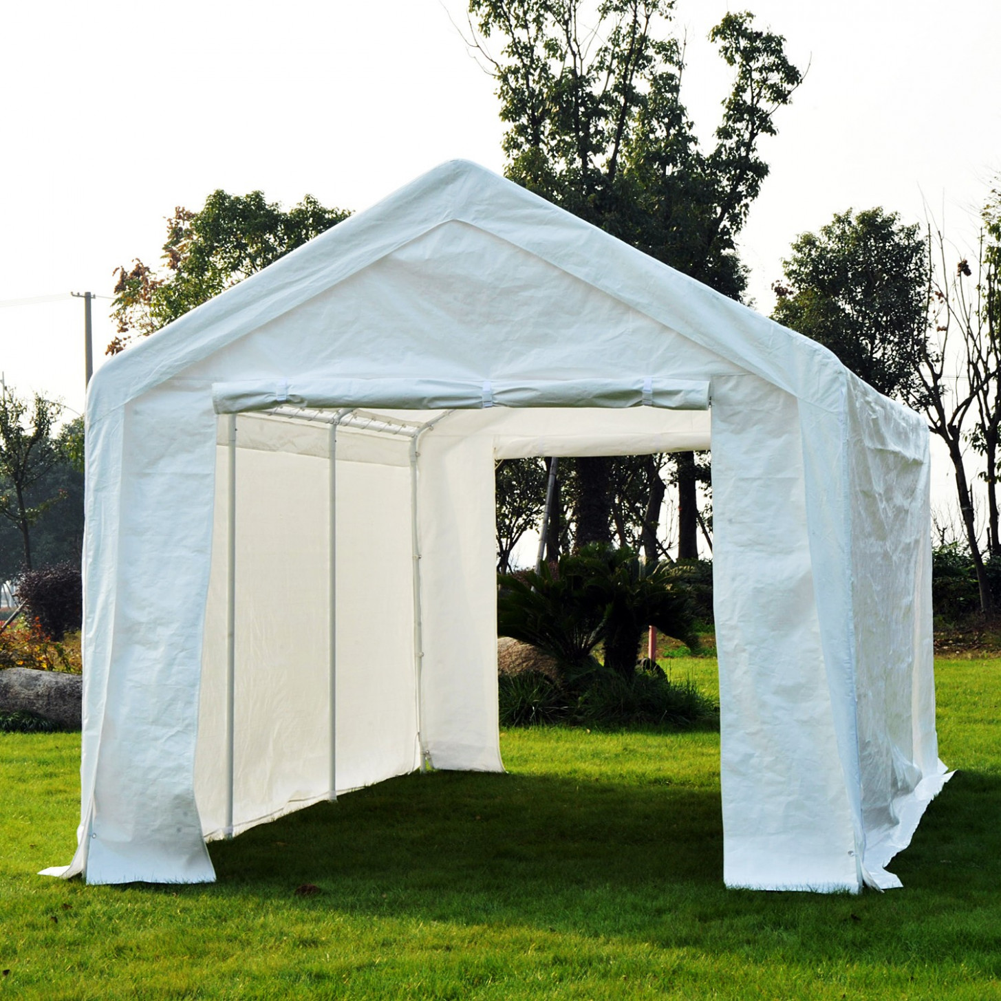 Outsunny 10'x20' 2 In 1 Carport Gazebo Canopy With ..