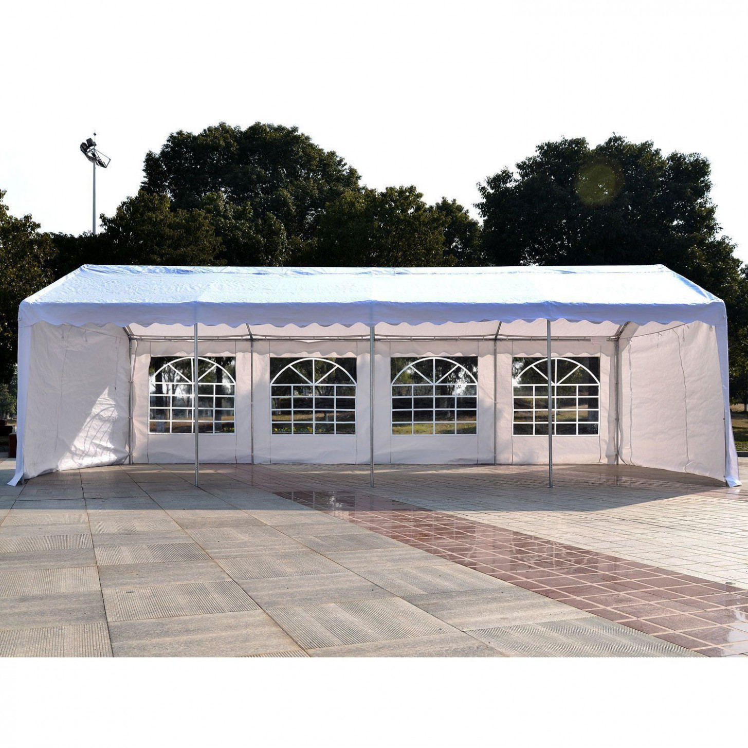Outsunny 12'x12' Heavy-duty Outdoor Carport Wedding Party Event Tent Patio  Gazebo Canopy with 12 Sidewalls, White