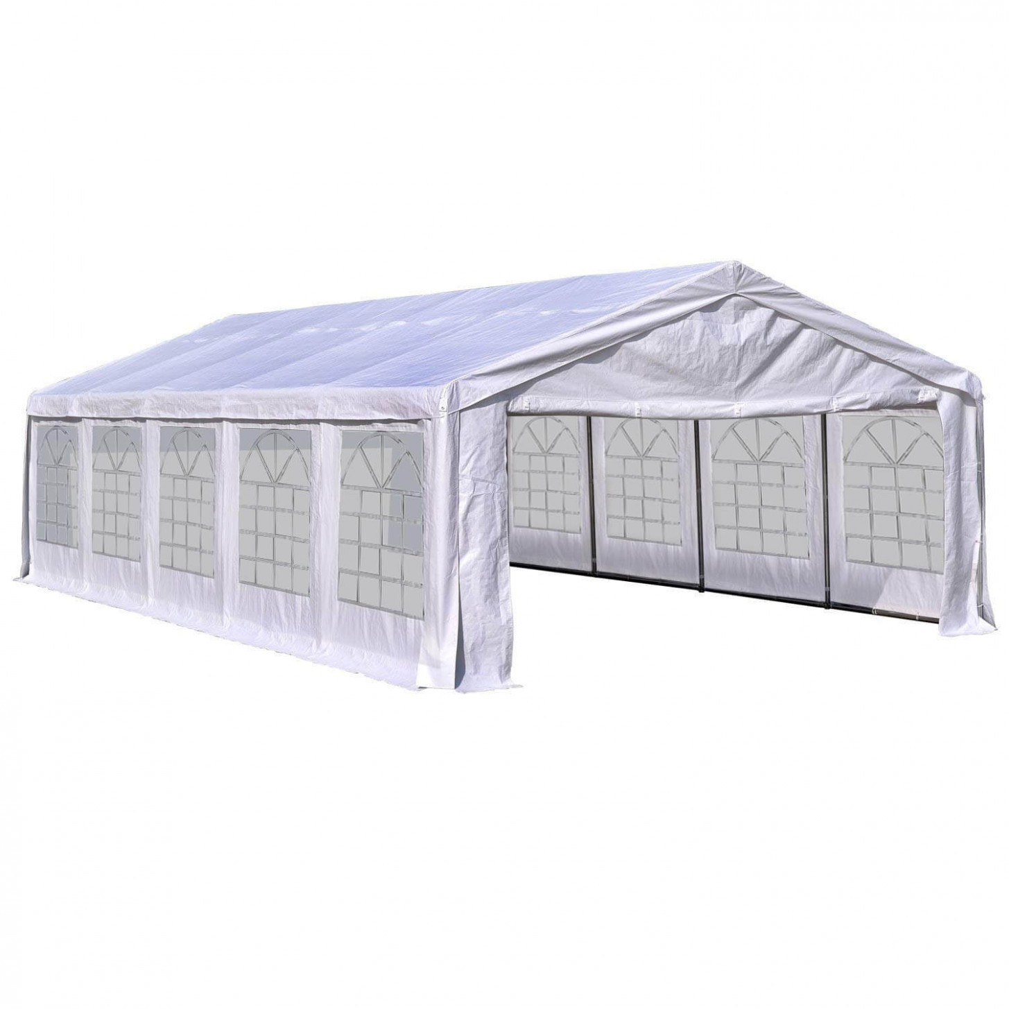 Outsunny 9'W X 9'D Outdoor Carport Canopy Party Tent With Sidewalls White Carport Canopy Height