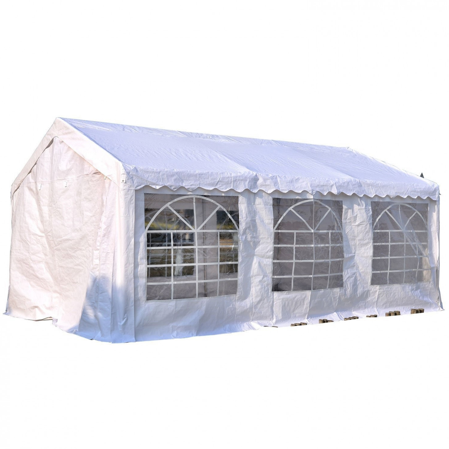 Outsunny Garden Gazebo Marquee Party Tent Wedding Portable Garage Carport Shelter Car Canopy Outdoor Heavy Duty Steel Frame Waterproof Rot Resistant ..