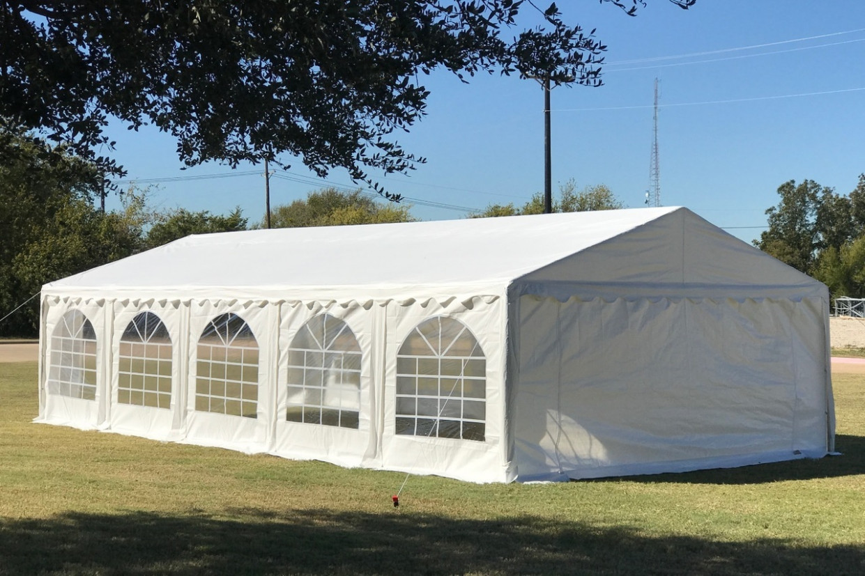 PE Party Tent 10'x10' White Heavy Duty Wedding Carport With Waterproof Top Carport Canopy Replacement Top
