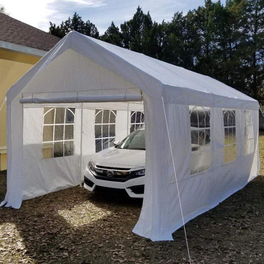 Peaktop 13'x13′ Heavy Duty Portable Carport Garage Car Shelter Canopy Party Tent Sidewall With Windows White Removable Carport Roof