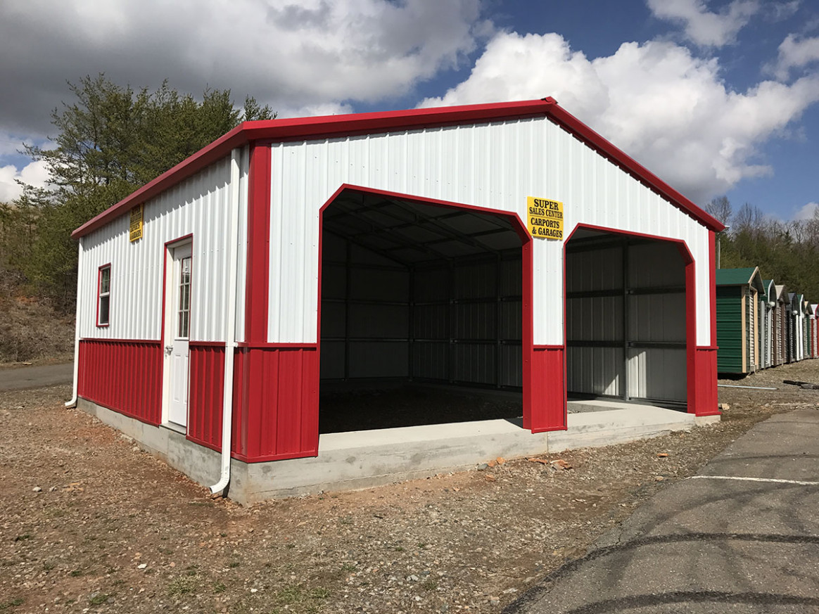picture of an enclosed carport garage - Carport Factory Direct