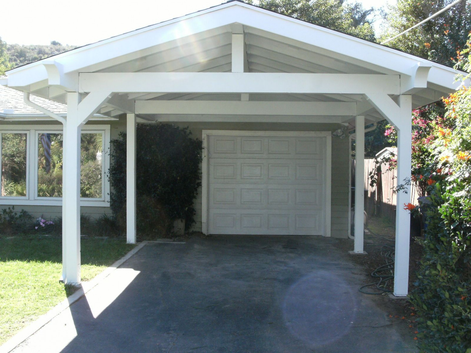 Pitched Roof Carport Adding Onto The Single Garage. # ..