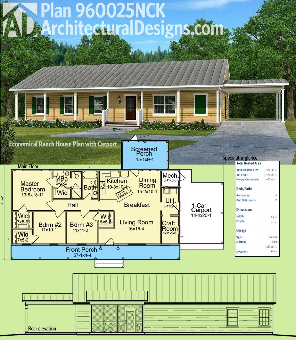 Plan 10NCK: Economical Ranch House Plan With Carport In ..