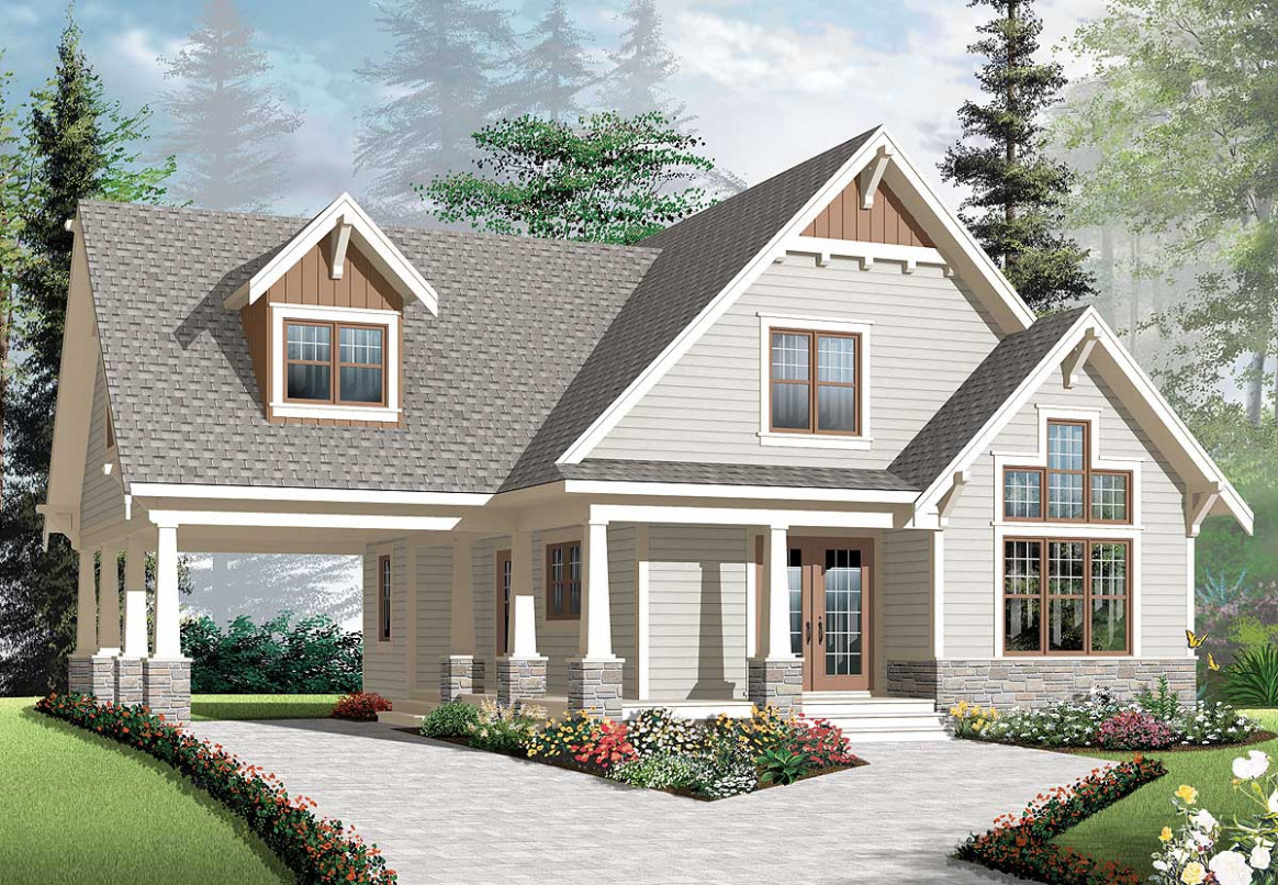 Plan 12DR: Graceful Porch and Carport