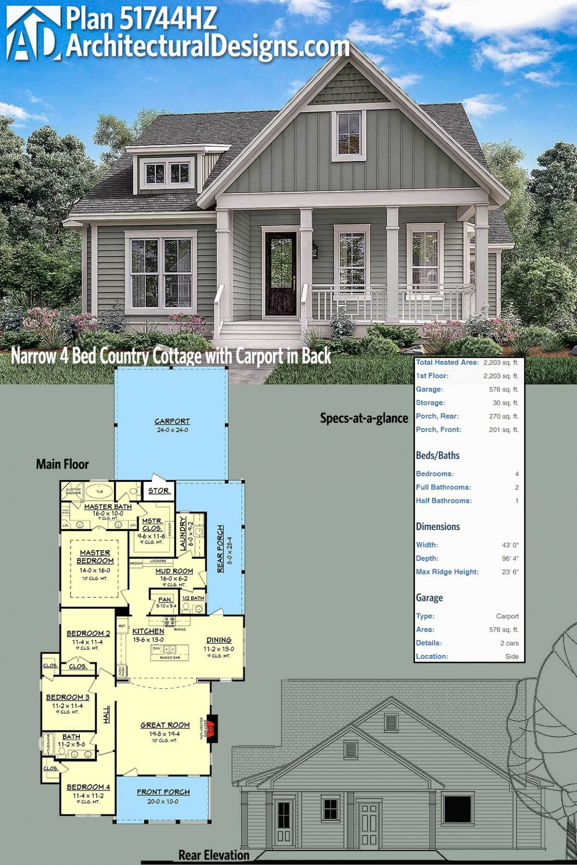 Plan Hz Narrow Bed Country Cottage With Carport Twin Single ..