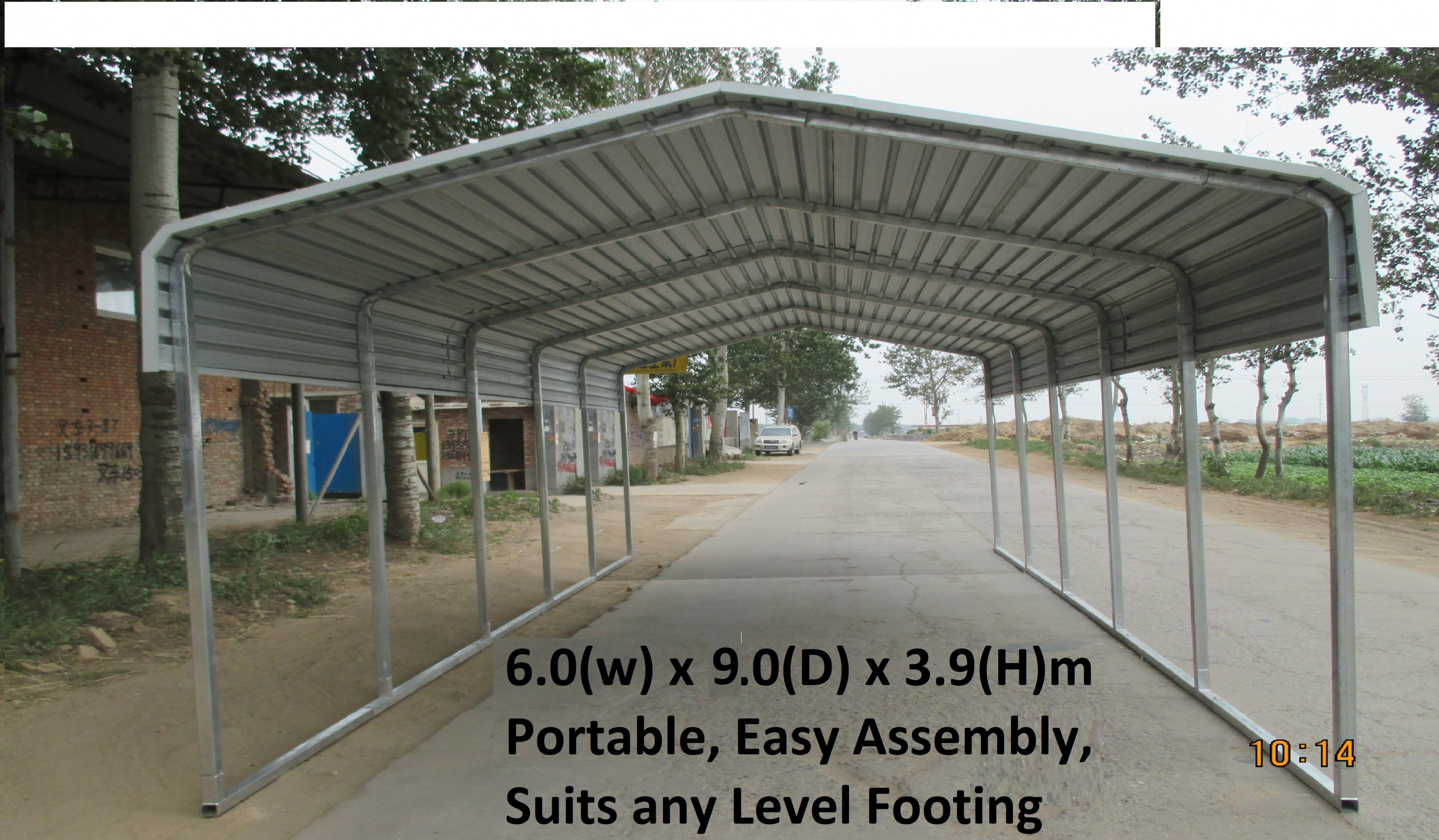 Portable Carport 11x11m Wrapping Roof Suitable For Any Level Floor! Carport Tent Setup