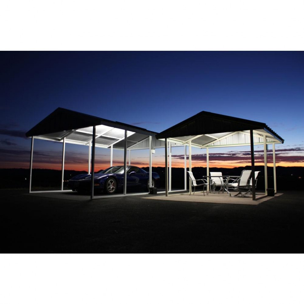 PWS Premium Canopy 7 ft. x 7 ft. Ash Grey and Polar White All Steel  Carport Structure with Durable Galvanized Frame