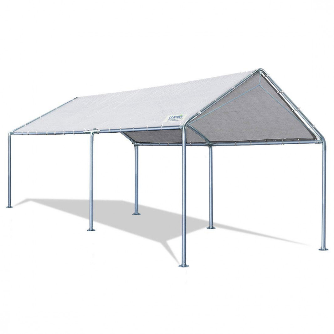 Quictent 113X113'ft Upgraded Heavy Duty Carport Car Canopy Party Tent With 13 Reinforced Steel Cables Grey Carport Canopy Frame Parts