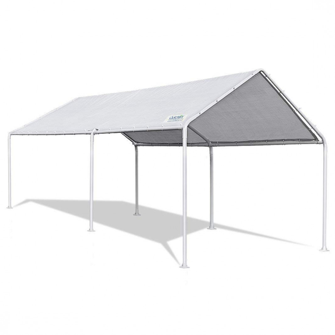 Quictent 8x8M Heavy Duty Carport White Portable Garage Steel Frame Car Shelter Outdoor Car Canopy With Waterproof Tear Resistance Cover Portable Canopy Carports