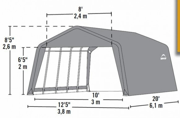ShelterLogic 12 X 20 X 8 Peak Style Portable Garage Canopy ..