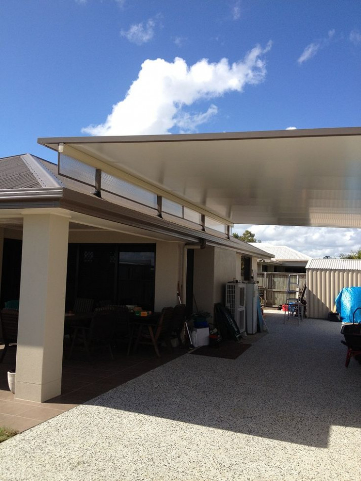 Stratco Cooldek Fly Over Carport With Twinwall Side Panels ..