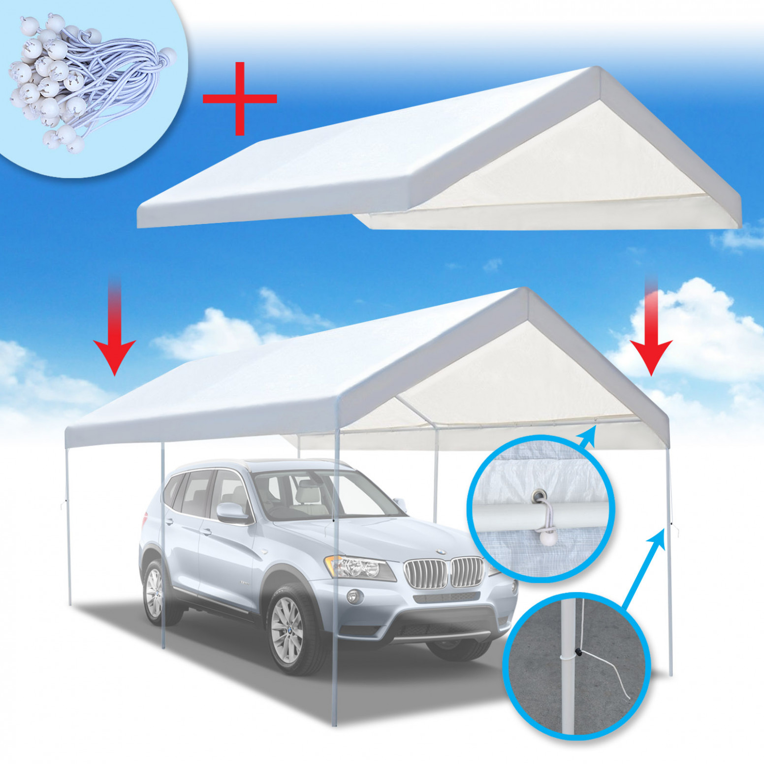 Strong Camel New 8'x8' Carport Replacement Canopy Cover For Tent Top Garage Shelter Cover W Ball Bungees (Only Cover, Frame Is Not Included ) Carport Tent Replacement