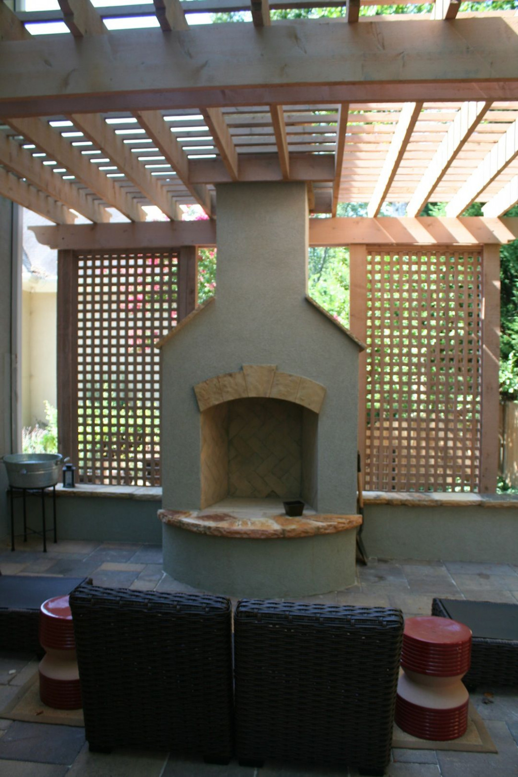 Stucco Fireplace With Cedar Pergola And Lattice Walls ..