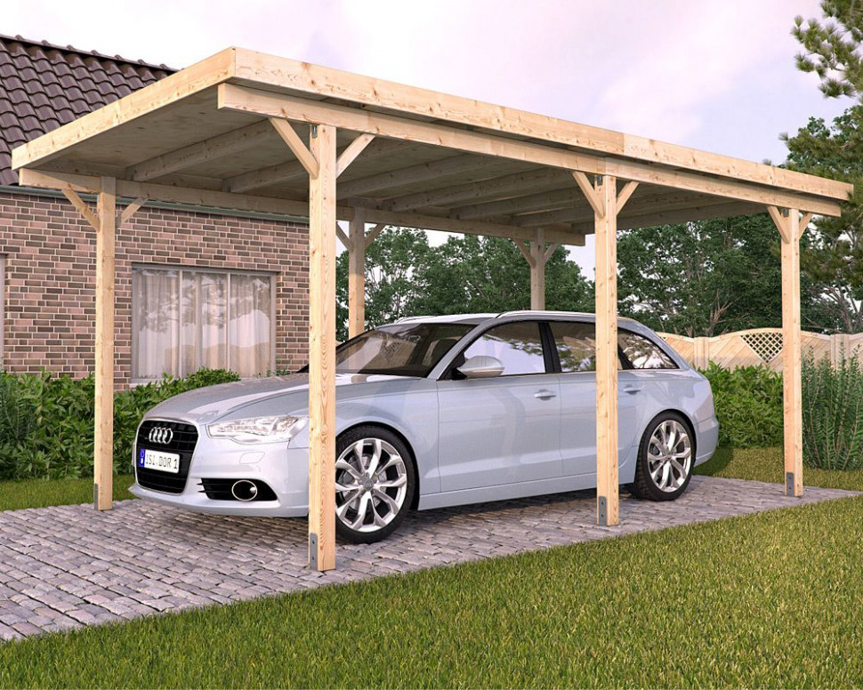 Stunning Freestanding Solid Wood Carport With Cool Flat Roof ..