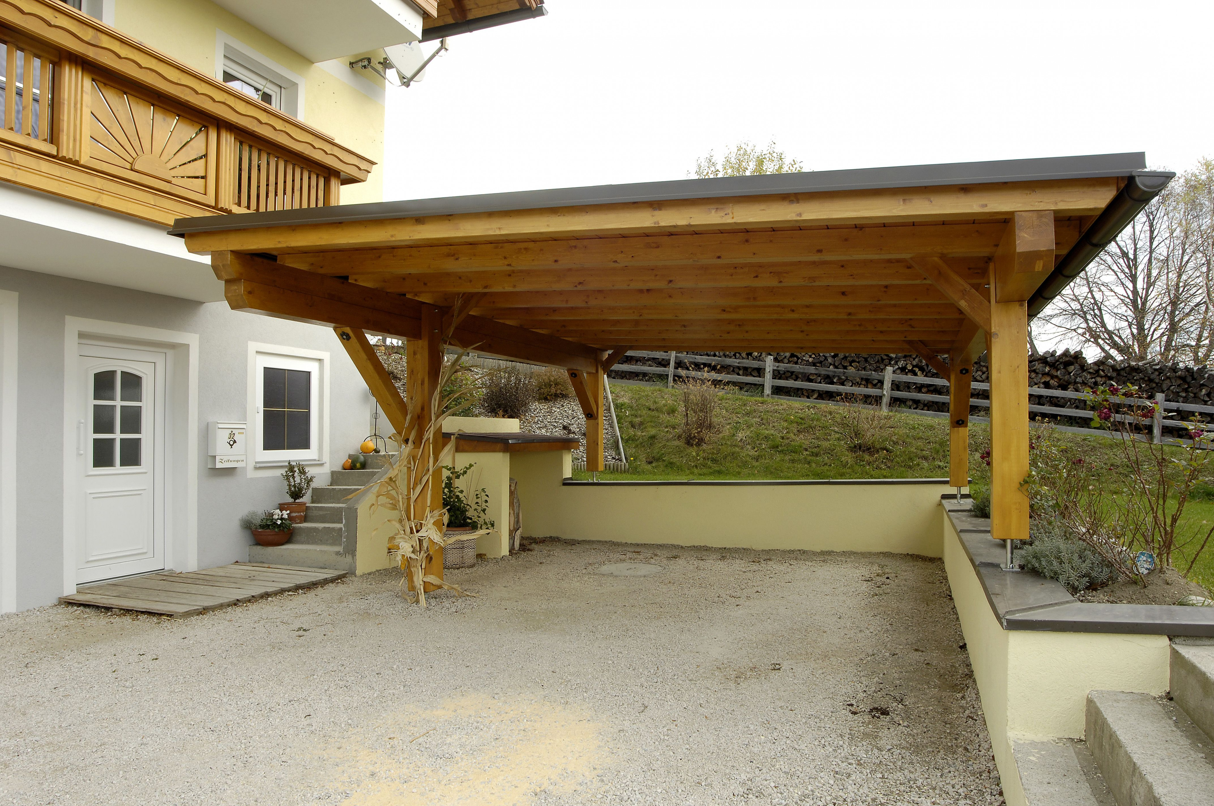 The Frame Of This Carport Is A Wooden Material That Cover ..