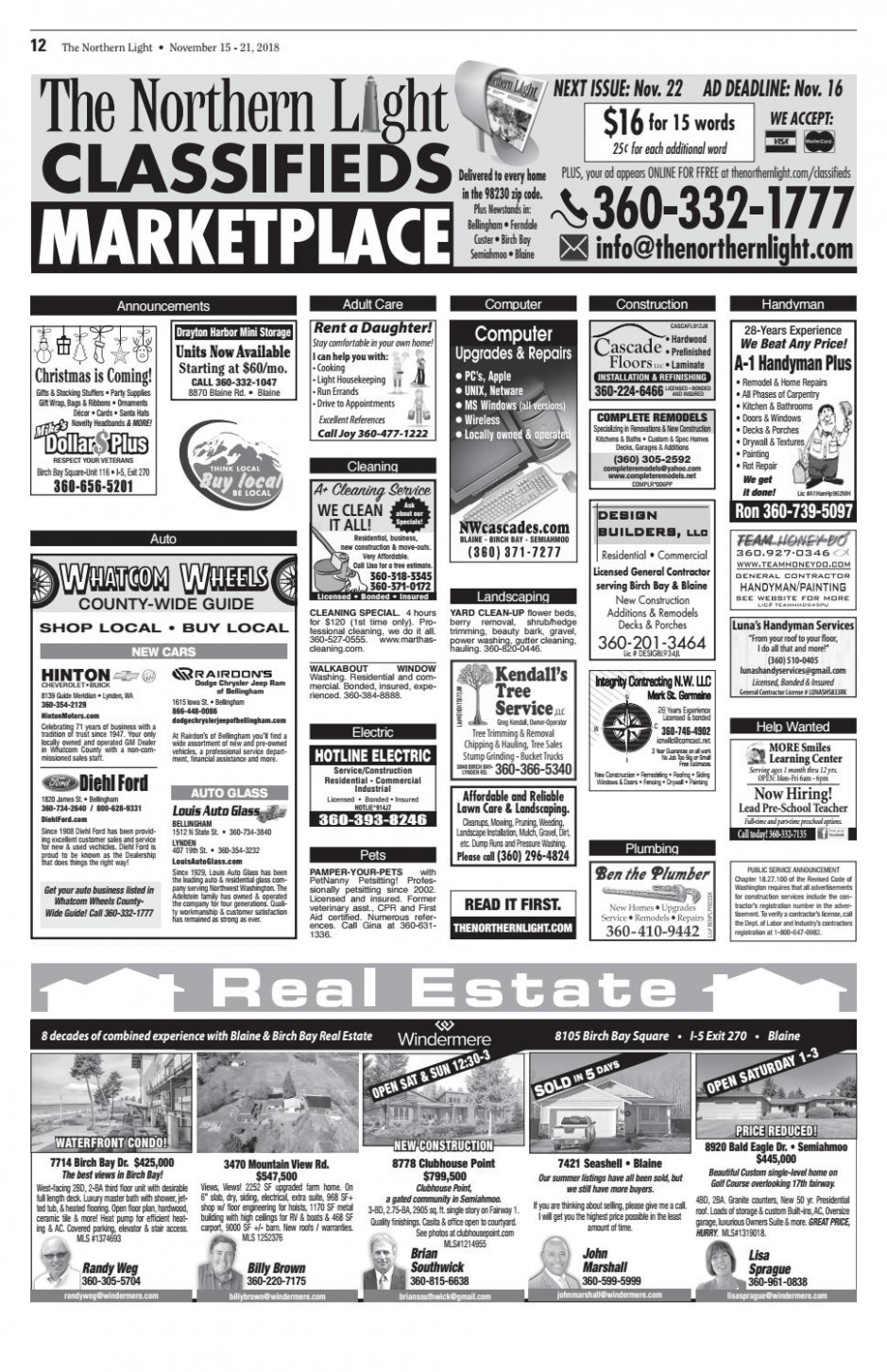 The Northern Light Classifieds November 8 By Point Roberts ..