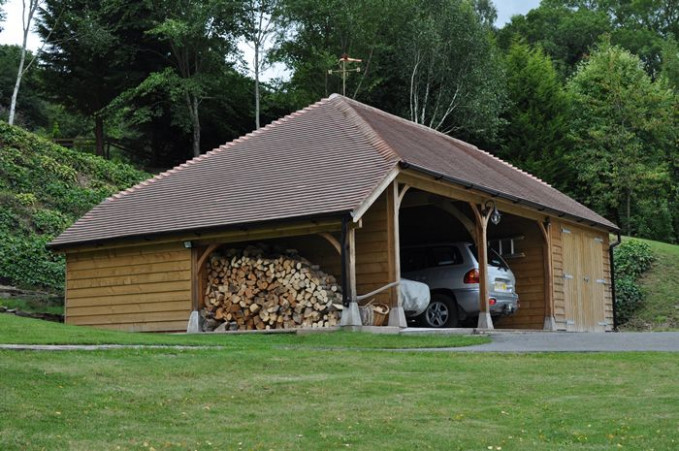 Three Bay Garage And Carports With Full Hip And Logstore ..