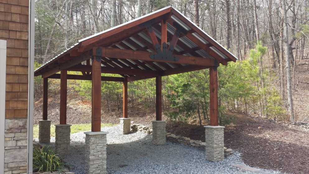 Timber Carport Design With Stacked Stone Column Bases ..