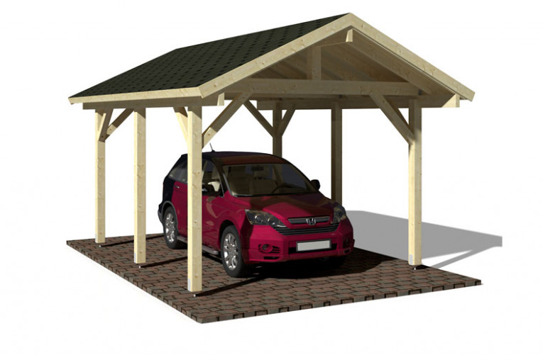 Traditional Style Pitched Roof Timber Carport For One Car ..
