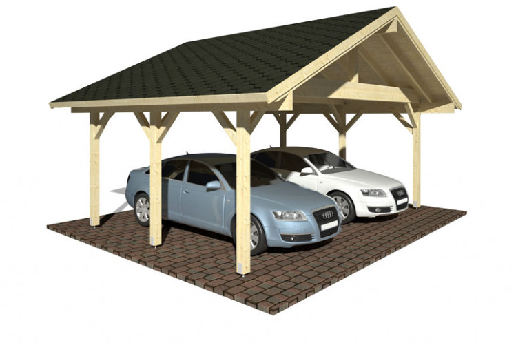 Traditional Style Pitched Roof Wooden Carport For Two Cars Carports With Pitched Roofs