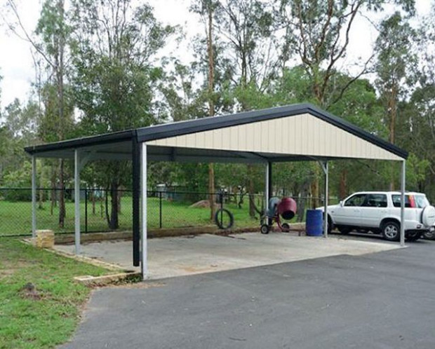 Triple Gable Roof Carport With Gable Infill 9m X 5.5m X 2 ..