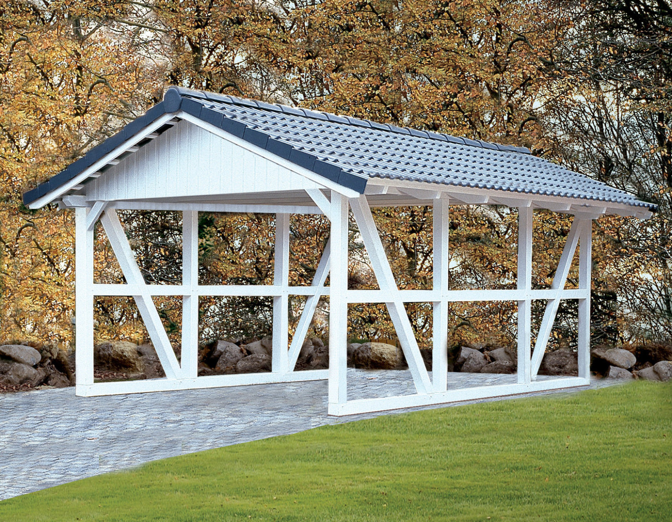Truss Pitched Roof Carport Rear Wall Garden House Wood Shop ..