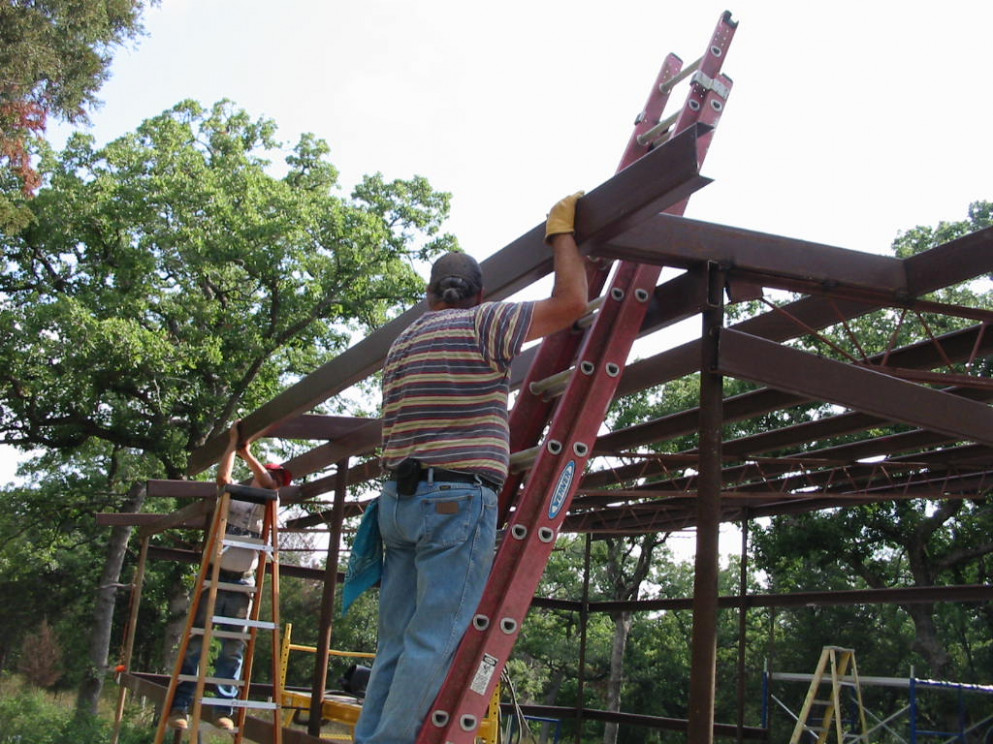 Turtle Ranch Tales: Starting On The Carport Welding Carport Roof Purlins