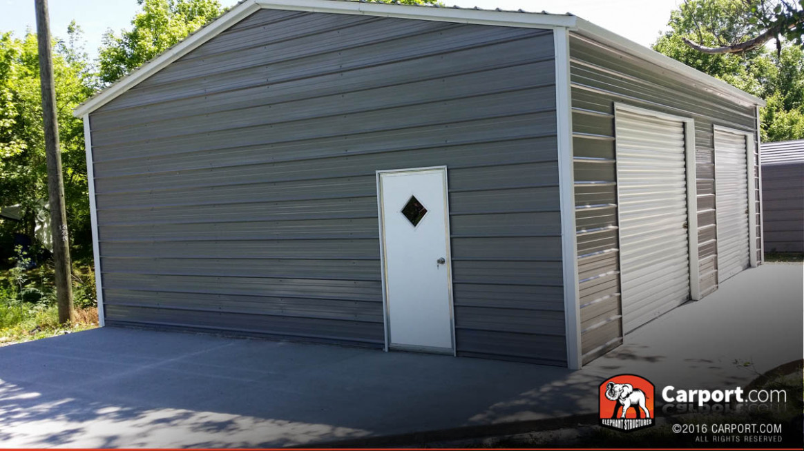 Two Car Garage At 8' Wide X 8' Long X 8' High Garage Doors On Carports